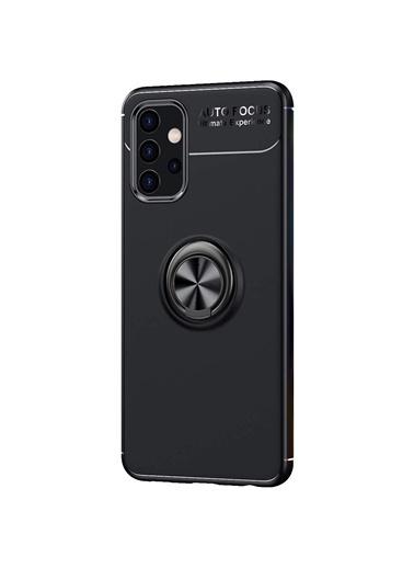 Microsonic Samsung Galaxy A32 5G Kılıf Kickstand Ring Holder Siyah Siyah